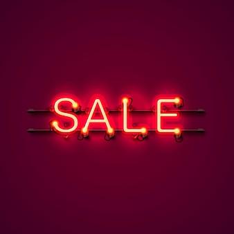 Neon uithangbord tekst verkoop op de rode achtergrond. vector illustratie