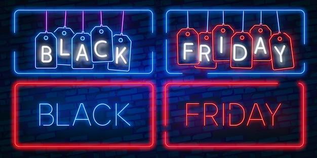 Neon uitverkoop. donkere achtergrond voor black friday-verkoop.