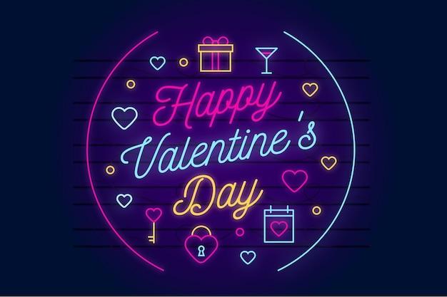 Neon valentijnsdag achtergrond