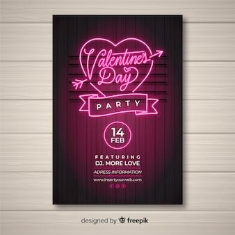 Neon valentijnsdag partij poster sjabloon