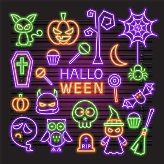 Neon vector set halloween item