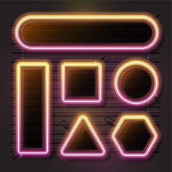 Neon vector set met geometrie vorm