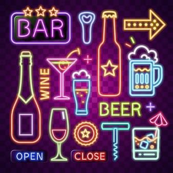 Neon vector van bar-item.
