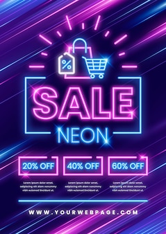 Neon verkoop afdruksjabloon