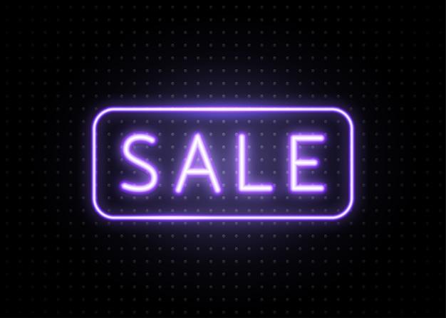 Neon verkoop banner met lijnkader. lichtgevend lichtblauw typelijntekstteken op donkere stippen
