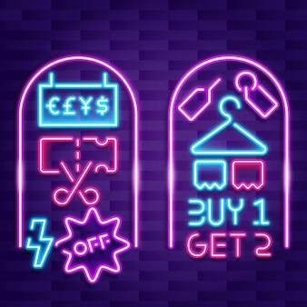 Neon verkoop bord met aanbieding
