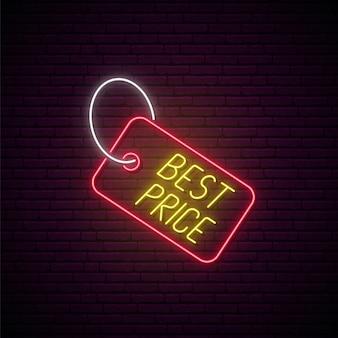 Neon verkoop tag teken.