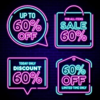 Neon verkoop teken collectie ontwerp