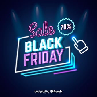 Neon verkoop zwarte vrijdag met wijzer