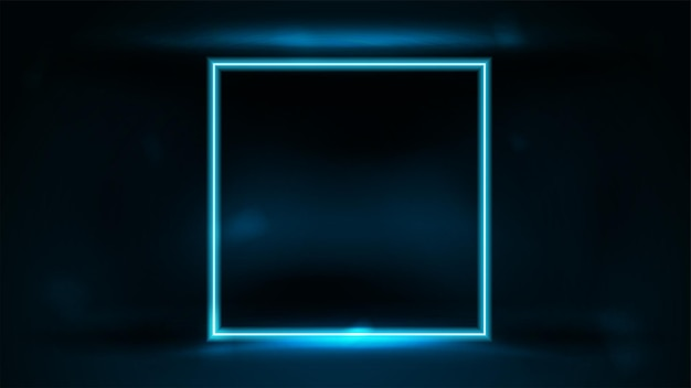 Neon vierkant blauw frame in donkere kamer op donkere onscherpe achtergrond
