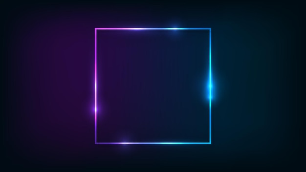 Neon vierkant frame met glanzende effecten op donkere achtergrond. lege gloeiende techno achtergrond. vector illustratie.