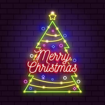 Neon vrolijk kerstfeest concept