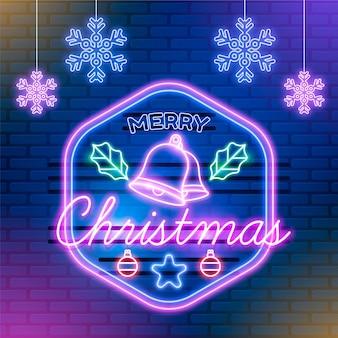 Neon vrolijk kerstfeest met sneeuwvlokken