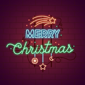 Neon vrolijk kerstfeest met vallende sterren