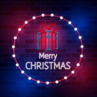 Neon vrolijk kerstfeest sjabloon