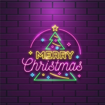 Neon vrolijk kerstfeest