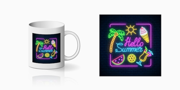 Neon vrolijke zomerprint met belettering en zomerse dingen in rechthoekig frame voor bekerontwerp. glanzend zomerontwerp