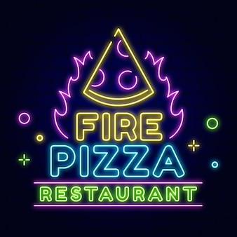 Neon vuur pizza restaurant bord