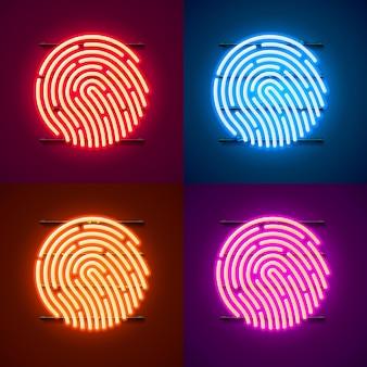 Neon wachtwoord touch id telefoon teken kleurenset. vector illustratie