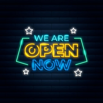 Neon we zijn open teken