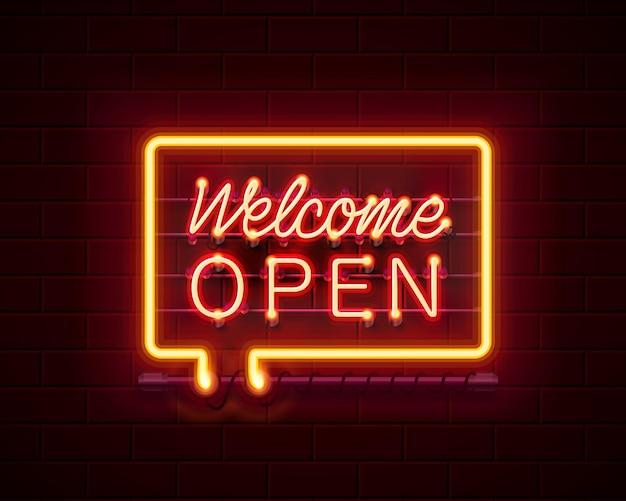 Neon welkom open uithangbord op de bakstenen muur achtergrond. vector illustratie