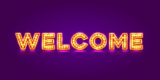 Neon welkom uithangbord op de rode achtergrond. vector illustratie