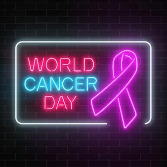 Neon wereld kanker dag gloeiend teken op een donkere bakstenen muur achtergrond. roze lint als een voorlichtingsmaand voor kanker.