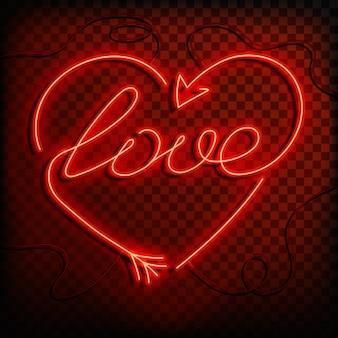 Neon woord liefde. een fel rood teken element van ontwerp voor een gelukkige valentijnsdag. illustratie.