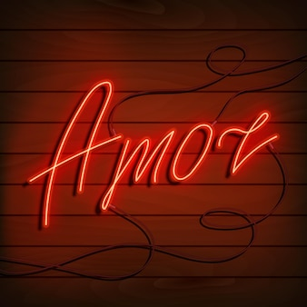 Neon woord liefde in het spaans en portugees. een fel rood bord op een houten muur. element van ontwerp voor een gelukkige valentijnsdag. vector illustratie