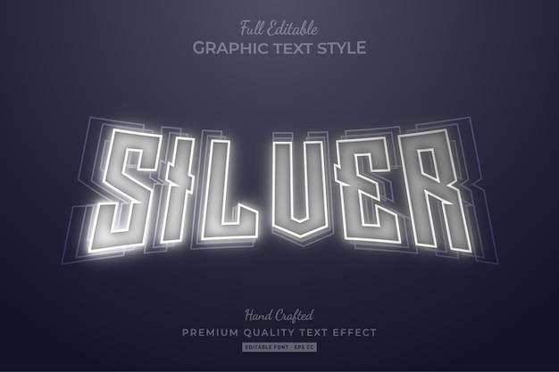 Neon zilver bewerkbaar teksteffect