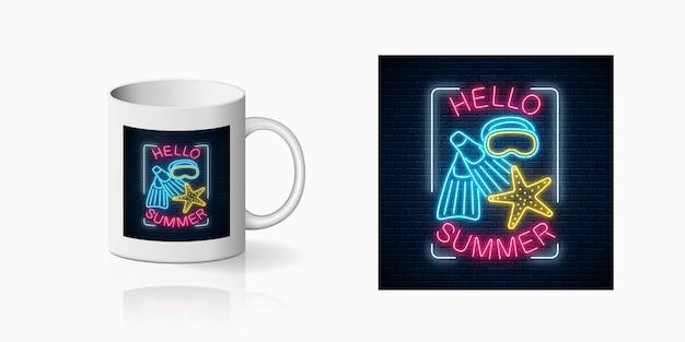 Neon zomer begint feestprint met zeesterren, flippers en maskersymbolen voor bekerontwerp. glanzend zomerontwerp