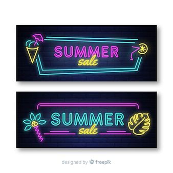 Neon zomer verkoop banner pack