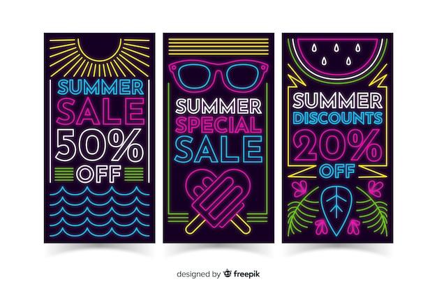 Neon zomer verkoop banners sjabloon
