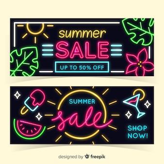 Neon zomer verkoop banners