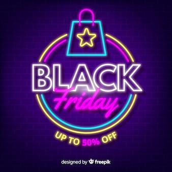 Neon zwart vrijdag met winkelwagen
