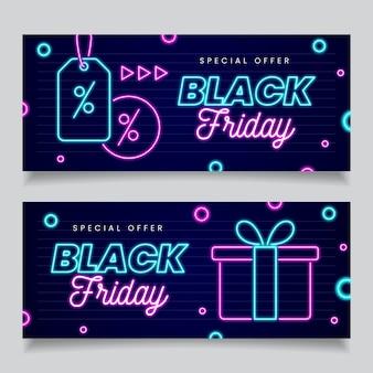 Neon zwarte vrijdag banners sjabloon