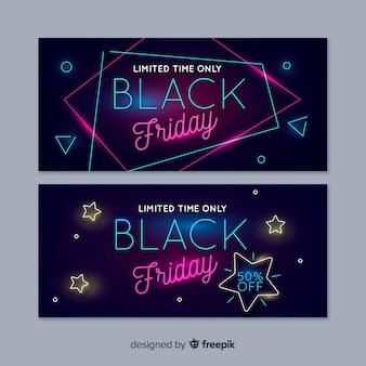 Neon zwarte vrijdag banners