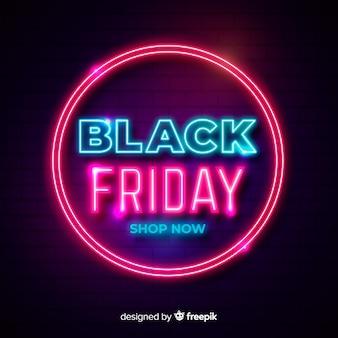 Neon zwarte vrijdag in een lichtere neoncirkel