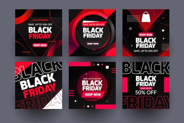 Neon zwarte vrijdag instagram-berichten