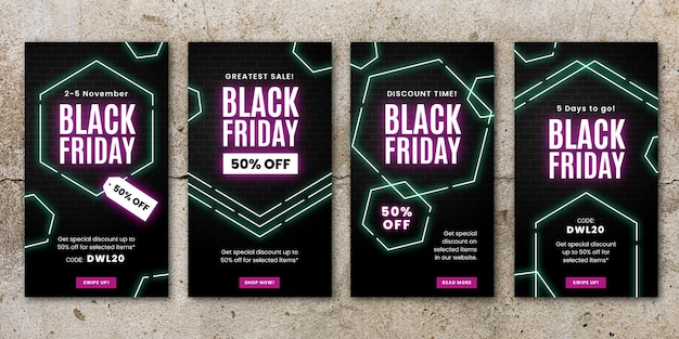 Neon zwarte vrijdag instagram-verhalencollectie