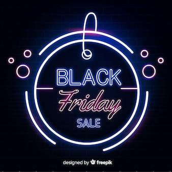 Neon zwarte vrijdag verkoop banner