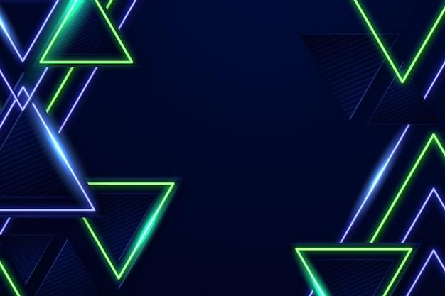 Neonachtergrond met driehoeken