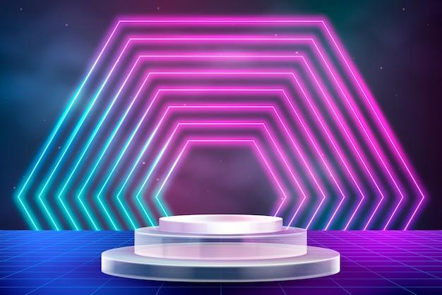 Neonachtergrond met podium