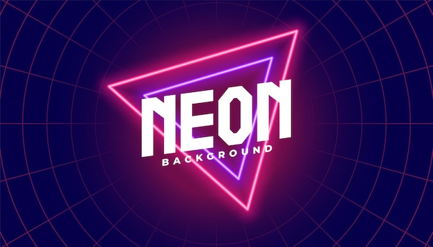 Neonachtergrond met rode en paarse driehoeksvorm