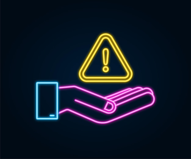 Neonbanner met gele zwendelwaarschuwing over handen aandachtsteken cyberbeveiligingspictogram
