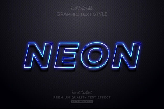 Neonblauw bewerkbare teksteffect lettertypestijl