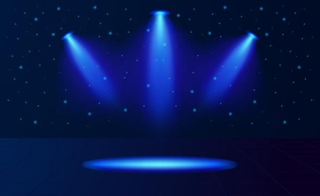 Neonblauw lichtspot voor productvertoning. lampvlek op het podium.