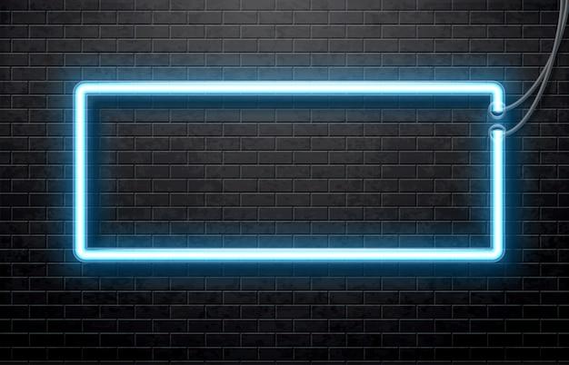 Neonblauwe banner geïsoleerd op zwarte bakstenen muur