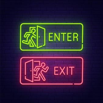 Neonbord binnengaan en verlaten