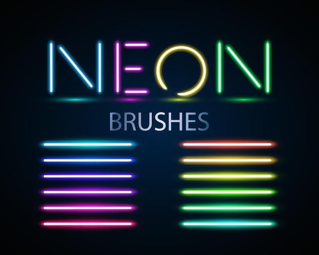 Neonborstels instellen. reeks kleurrijke lichte voorwerpen op donkere achtergrond.
